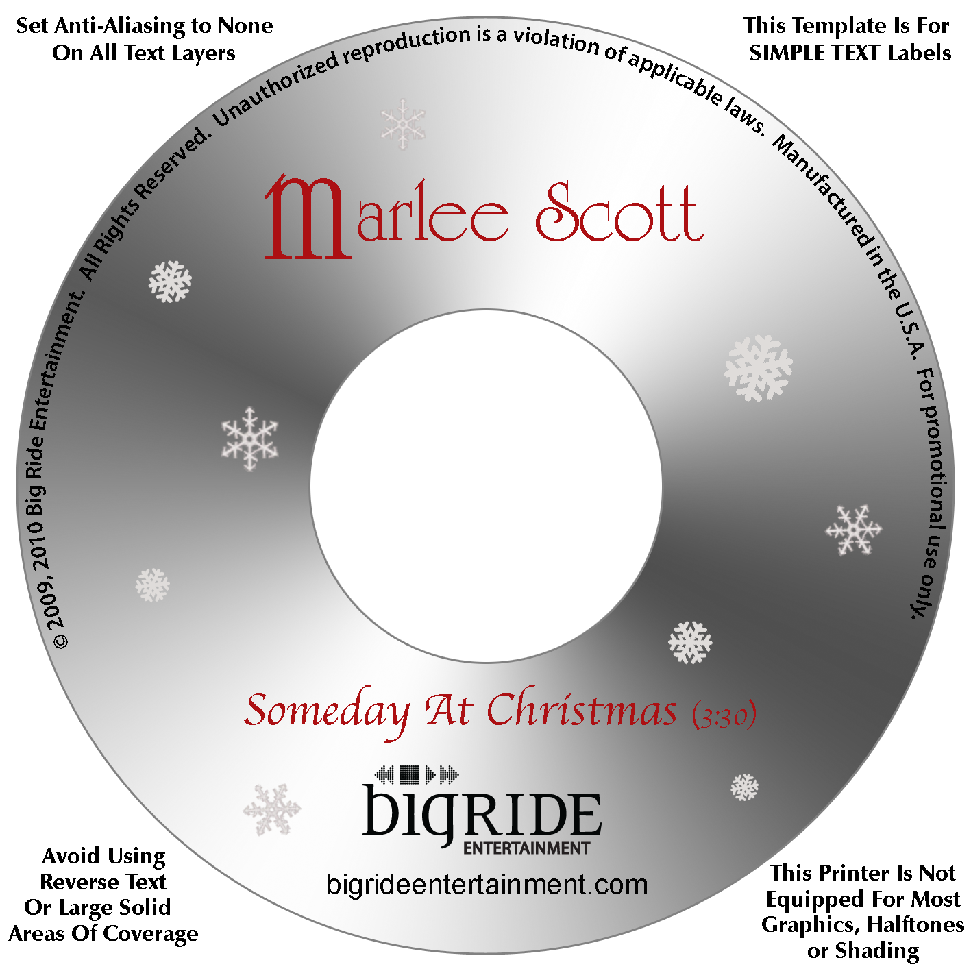 Marlee CD Top Snow Flakes on White