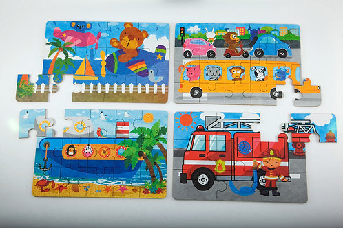 Puzzles In A Tin - Bear, Bus, Fire truck, Ship