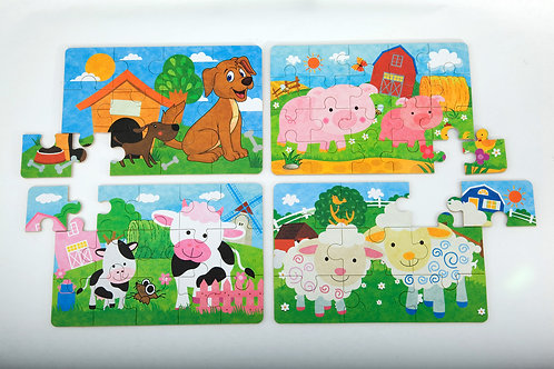 Puzzles In A Tin - Dog, Pig, Cow, Sheep