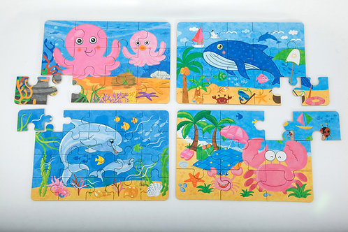Puzzles In A Tin - Octopus, Whale, Dolphin, Crab