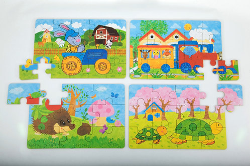 Puzzles In A Tin - Tractor, Train, Hedgehog, Tortoise