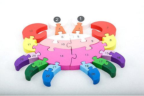Alphabet & Number Puzzle - Crab