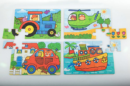 Puzzles In A Tin -Tractor, Helicopter, Car, Ship
