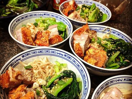 Roast Pork with Crispy Crackling, Noodles and Bok Choy