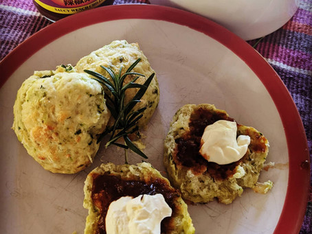 Parmesan & Chive Scones with Saucy Wench Chilli Jam & Sour Cream or Creme Fraiche