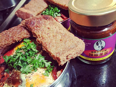 Baked Eggs with Saucy Wench Chilli Jam