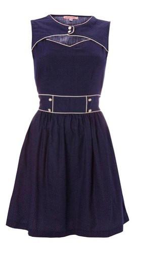 060 - Party Peephole Dress - Navy Polka
