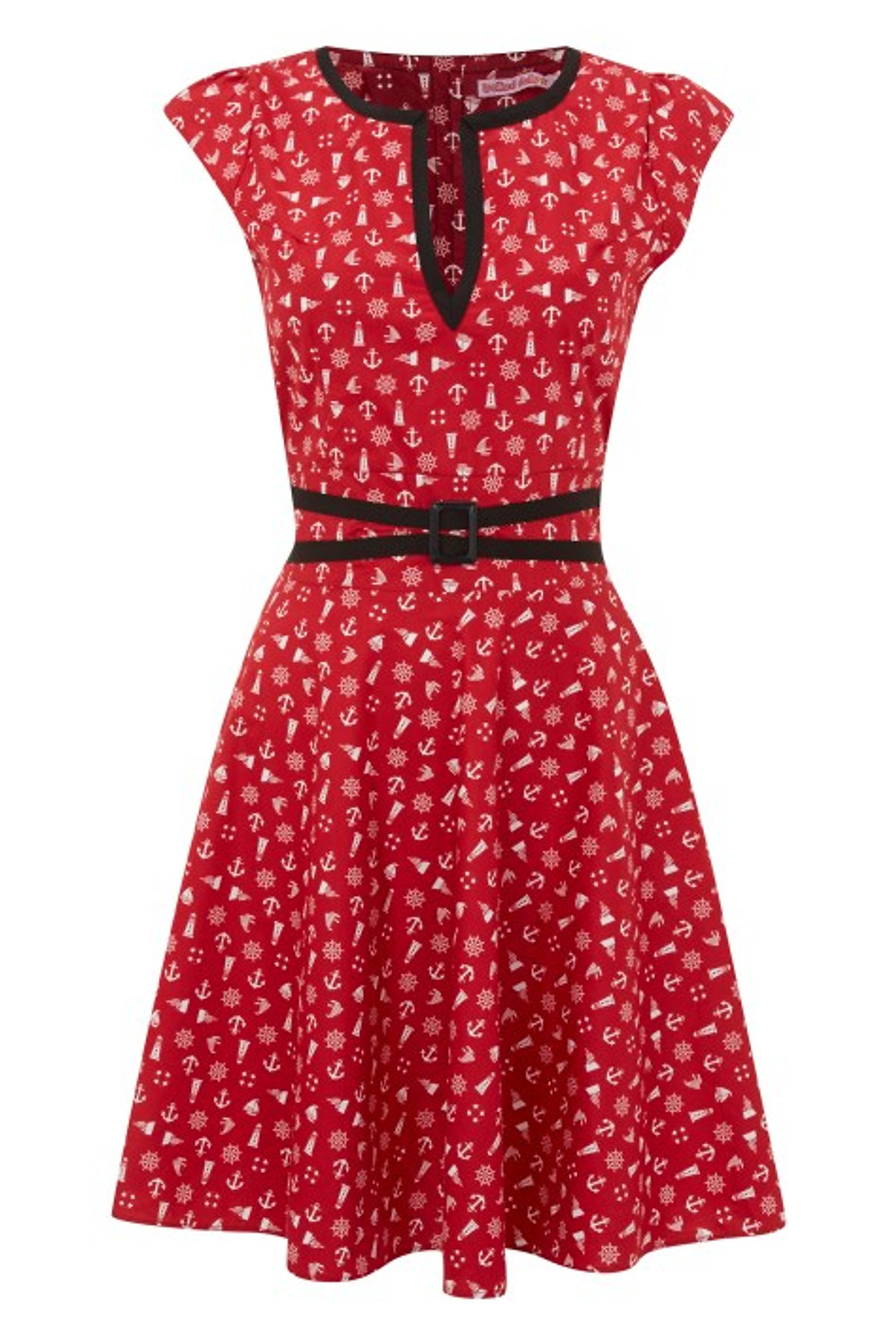 244 - Flared Buckle Dress - Red Nautical - FRONT