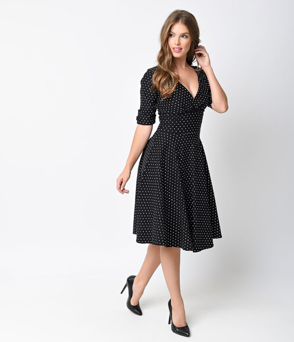 Black Polka Unique Vintage