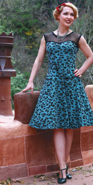 Jackie Dress in Marschino Print, $94