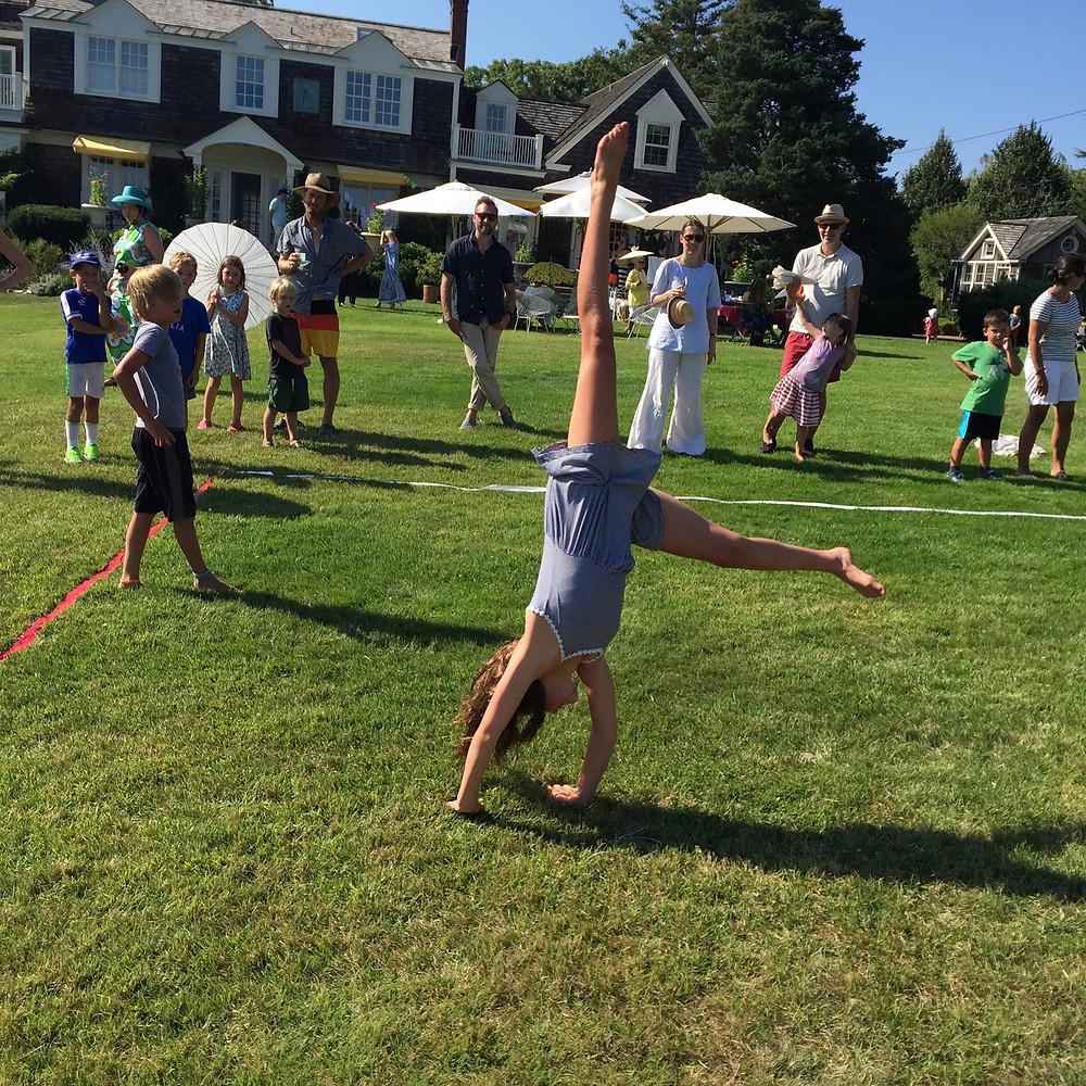 E V Starkey organizes traditional garden games
