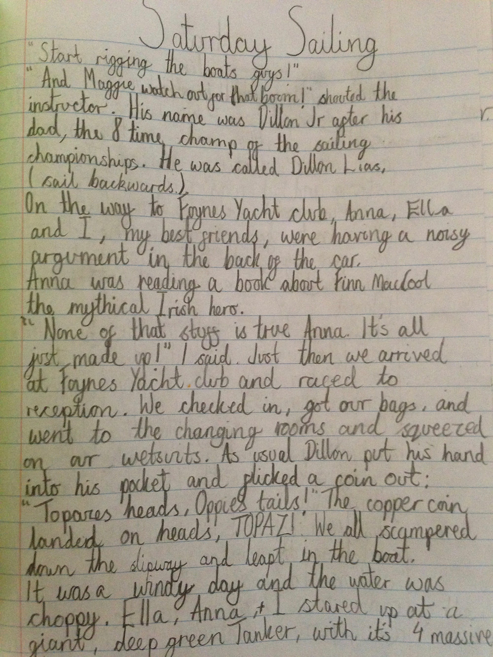 Sample of children's writing competition