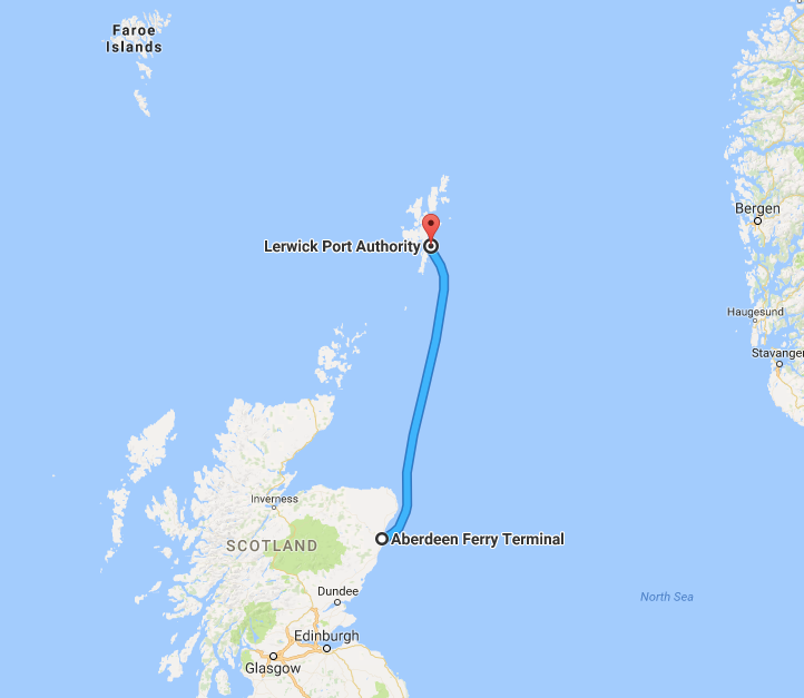 Map route Aberdeen to Lerwick