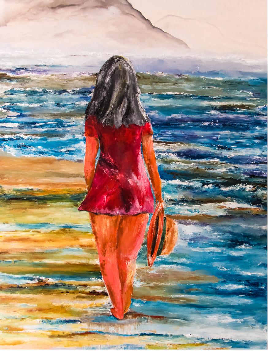Mulher Passeando na Praia