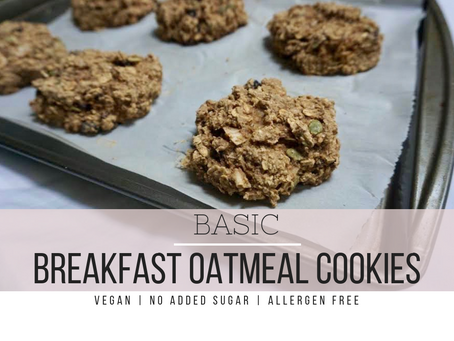 Basic Breakfast Oatmeal Cookies | Vegan, No Added Sugar, Allergen Free