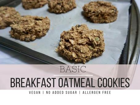 Basic Breakfast Oatmeal Cookies | Vegan, No Added Sugar, Allergen Free