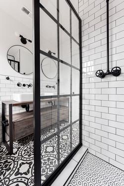 black framed shower partition