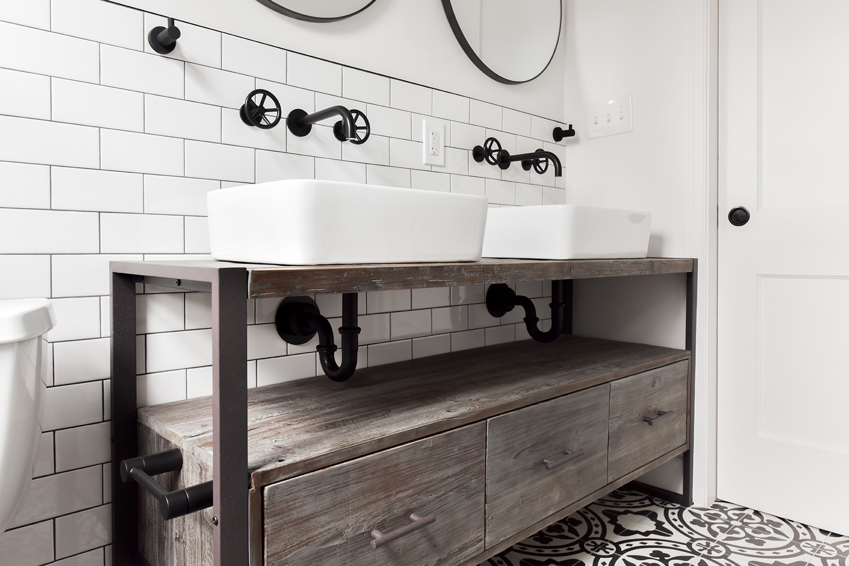 custom vanity with vessel sinks
