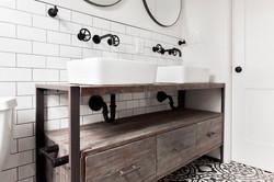 custom vanity with vessel sinks