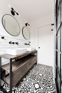 black and white bathroom cement tile