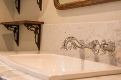 wall mount faucet and marble