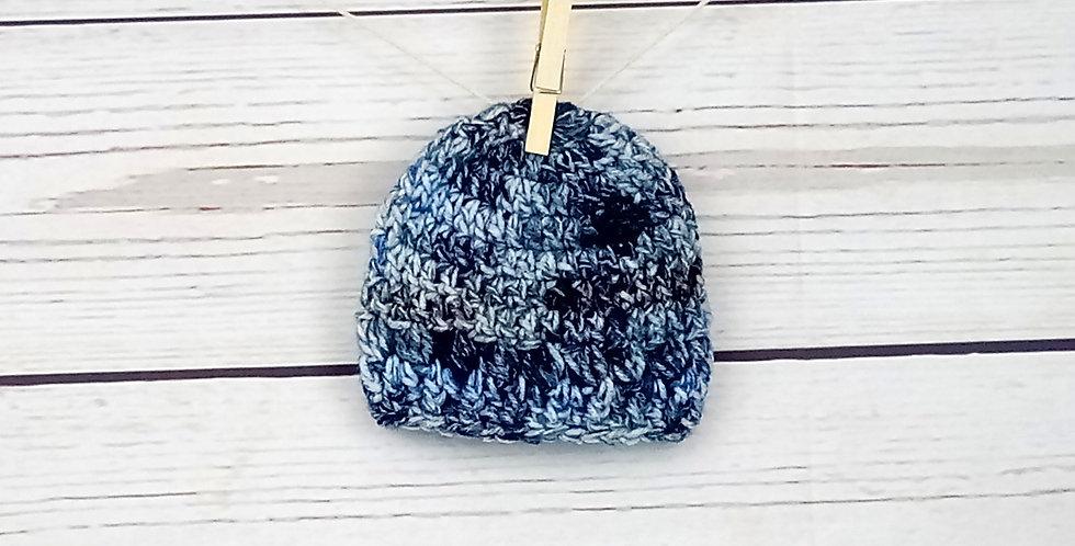 """Bonnet """"Chiné"""" Bleu"""