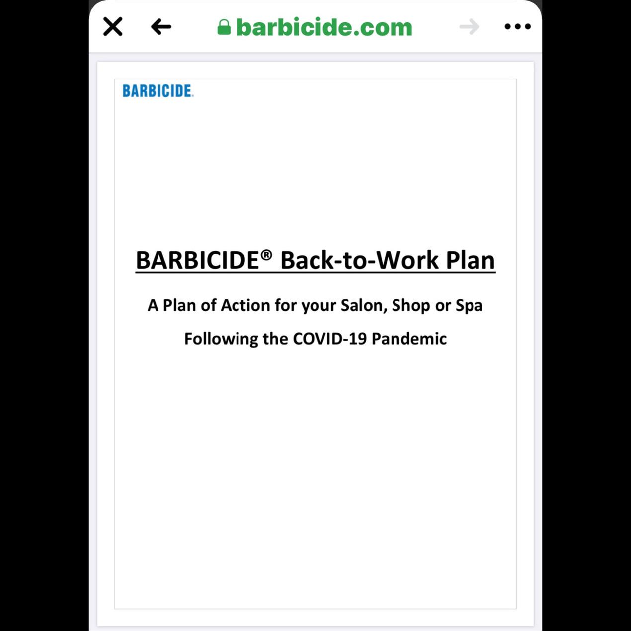 Barbicide Back-To-Work Plan