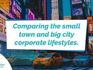 Comparing the small town and big city corporate lifestyles.