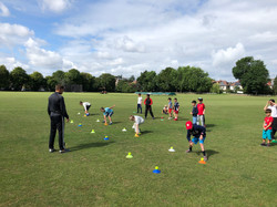 Fielding drills at 2019 Falcon Summer Camp at Finchley Cricket Club