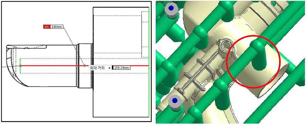 Fig. 4 배플형 냉각 채널 길이의 설계 변경