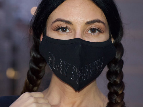 """Slay It Safe"" Black Ice Swarovski Crystal Mask"