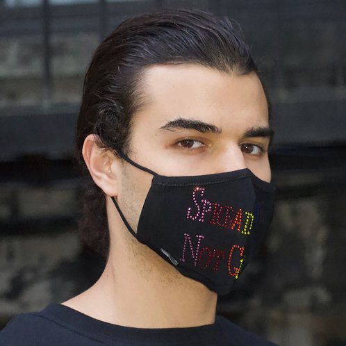 """Spread Love, Not Germs"" Unisex Rainbow Premium Crystal Mask"