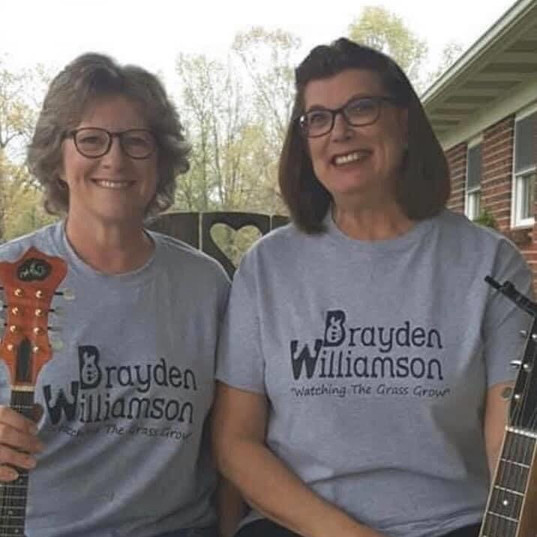 """2 Girls Bluegrass"" radio DJs with BW shirts on"