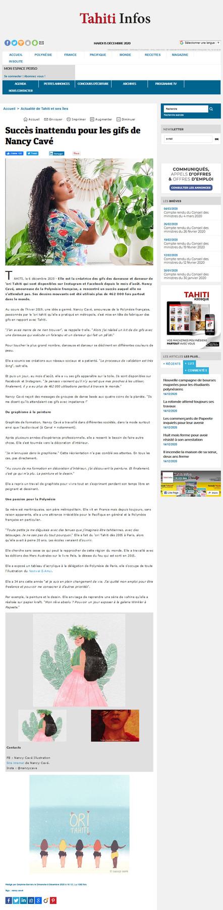 Article Tahiti Infos