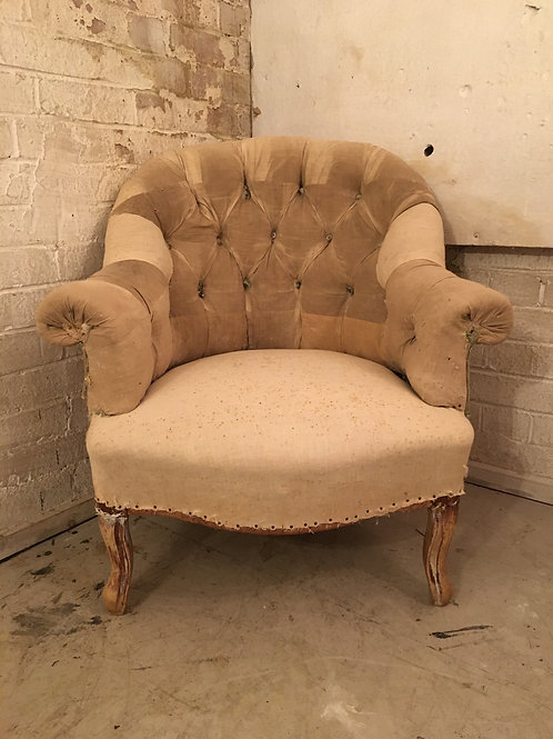French calico button chair