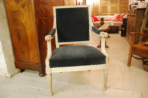 Velvet covered carver chair