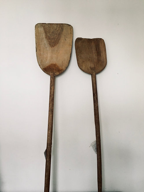 Large wooden grain scoops