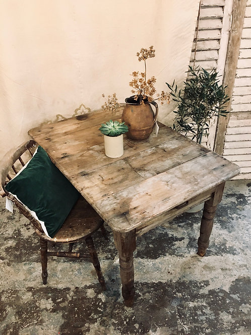 Rustic farmhouse table with drawer