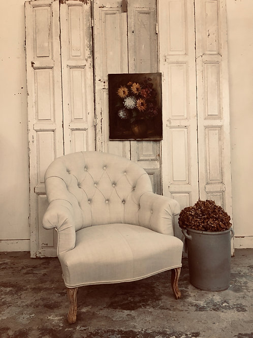 French buttoned linen chair NOW SOLD