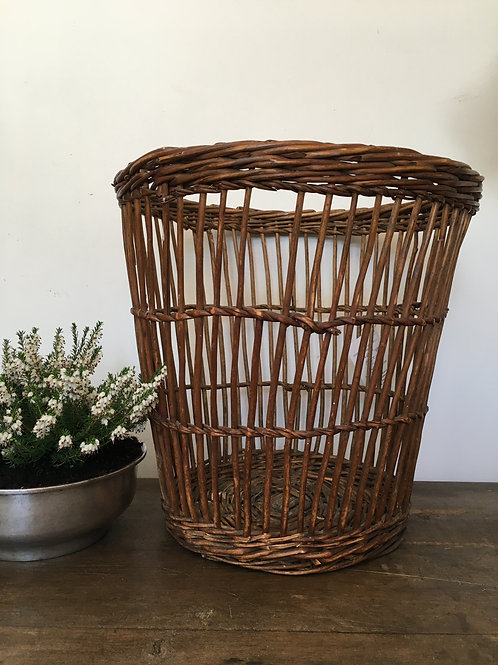 Antique wicker waste paper basket