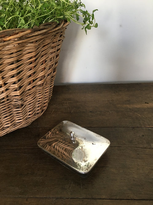 Silver plated/glass butter dish
