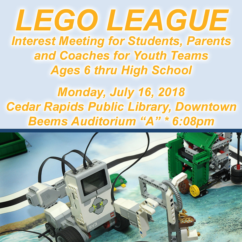 LEGO League Interest Meeting at CR Library