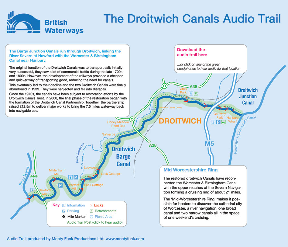 Droitwich Canals interactive audio trail map