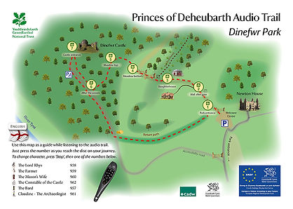 Dinefwr Park audio trail map by Monty Funk for the National Trust
