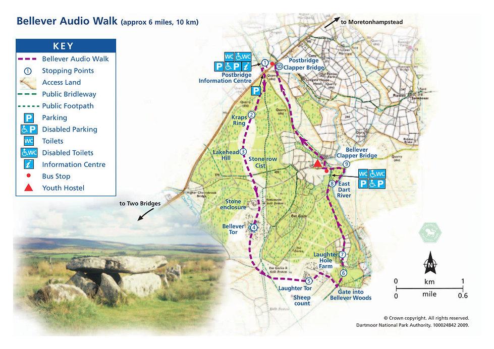 Bellever audio trail map , Dartmoor