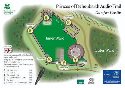 Dinefwr Castle audio trail map by Monty Funk for the National Trust
