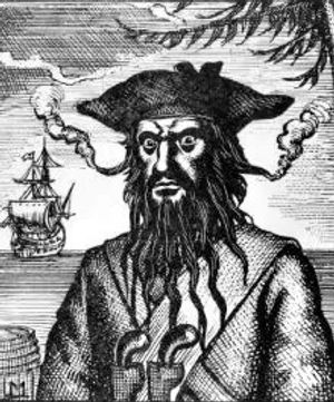The pirate Blackbeard for podcasts produced by Monty Funk for Royal Museums Greenwich