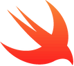 Swift logo, the programming language used by Monty Funk for iOS development