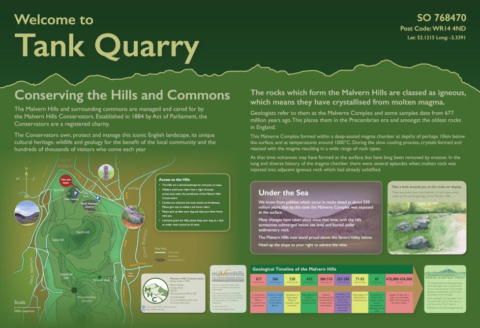 Malvern Hills Tank Quarry Interpretation Panel
