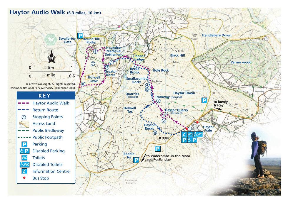 Haytor audio trail map, Dartmoor